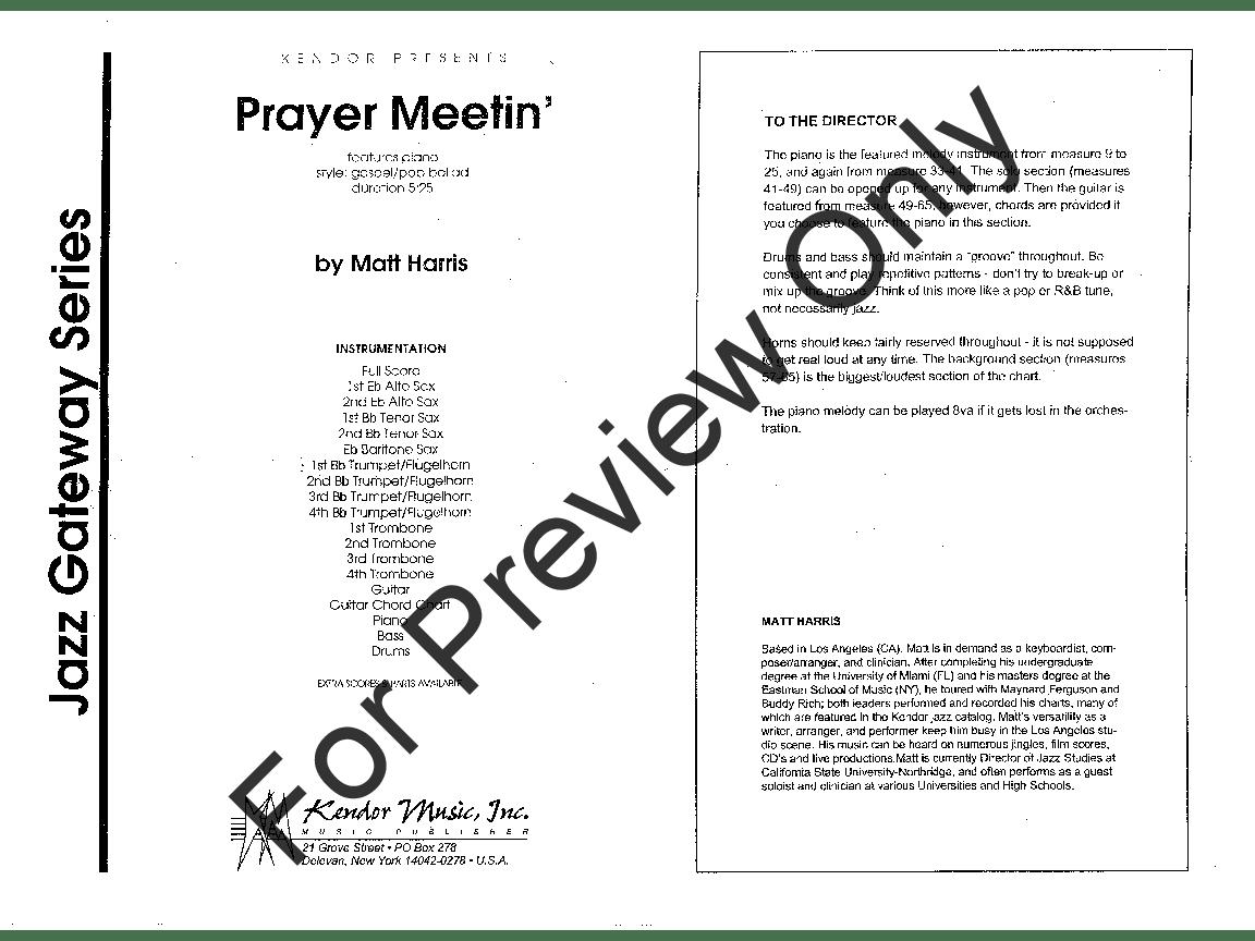 Prayer Meetin' by Matt Harris| J.W. Pepper Sheet Music