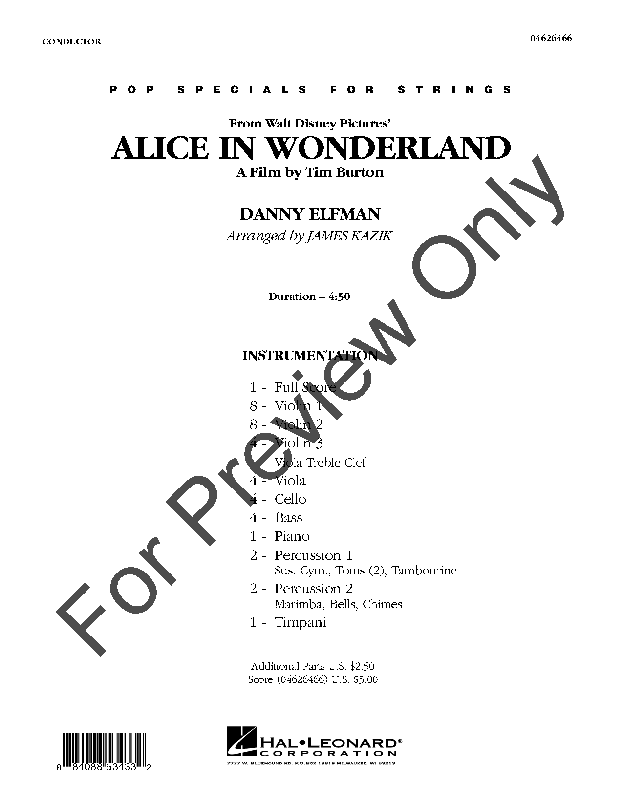 Alice in Wonderland by Danny Elfman/arr. Kazik| J.W