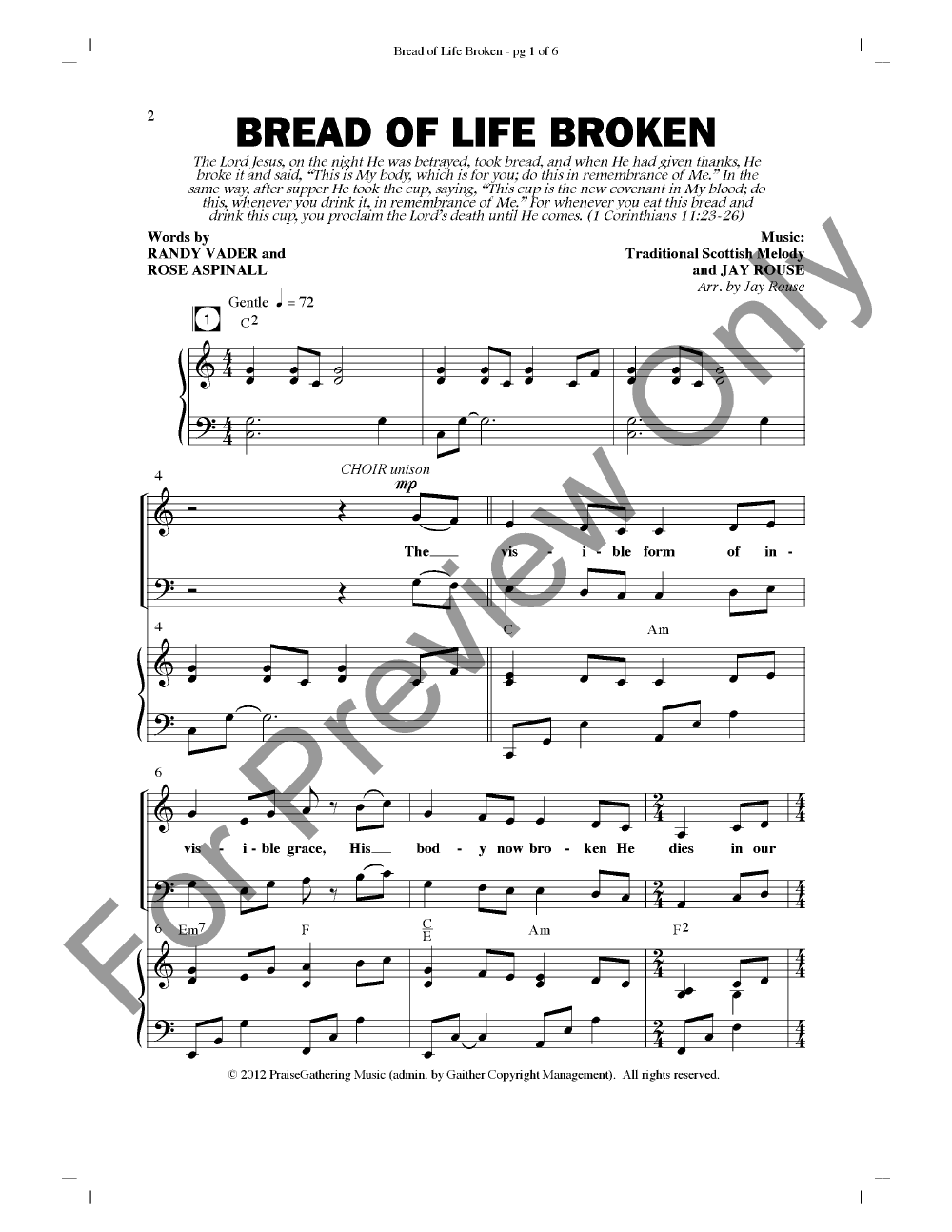 Bread of Life Broken (SATB ) by Jay Rouse| J.W. Pepper