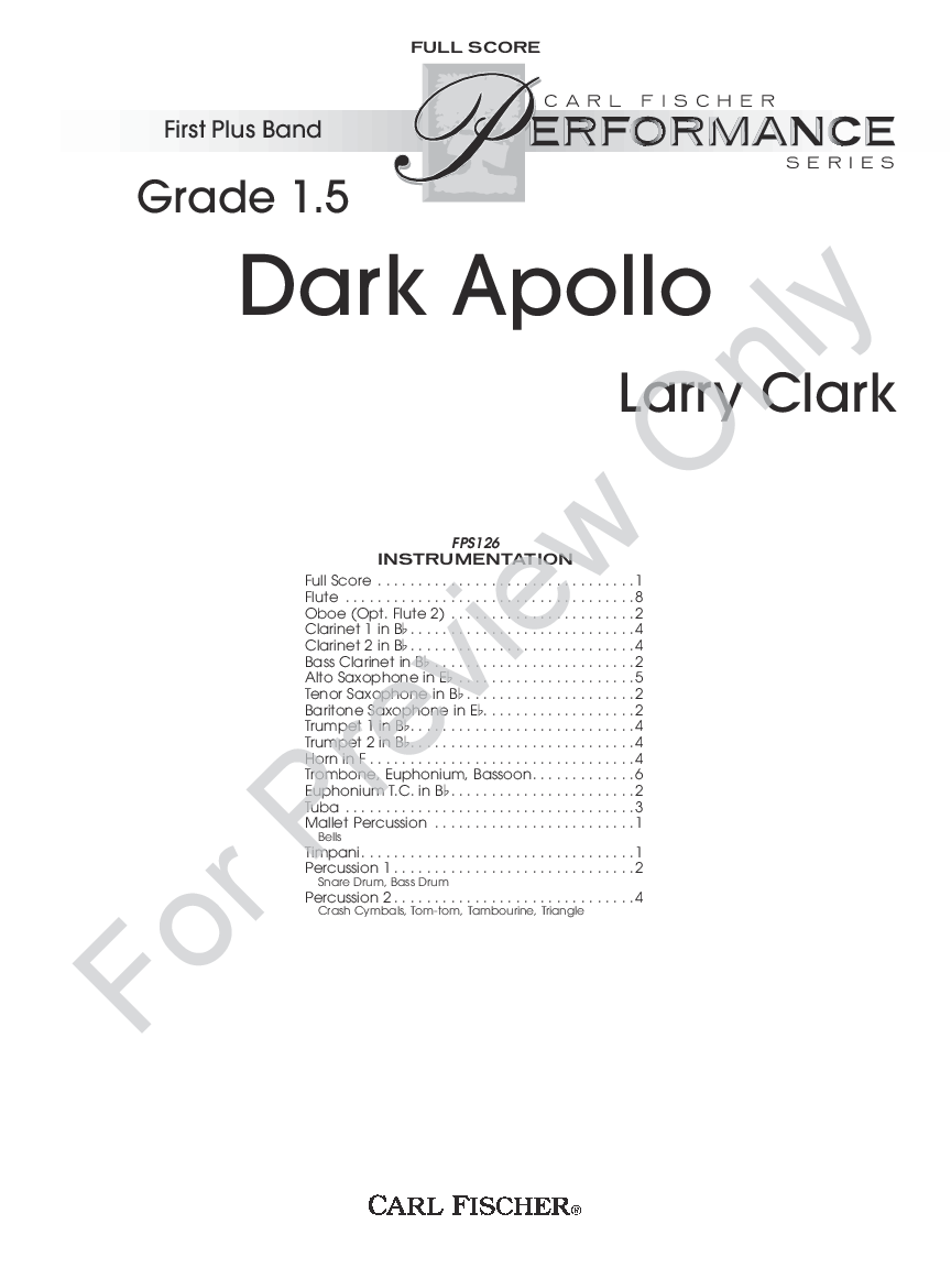 Dark Apollo by Larry Clark| J.W. Pepper Sheet Music