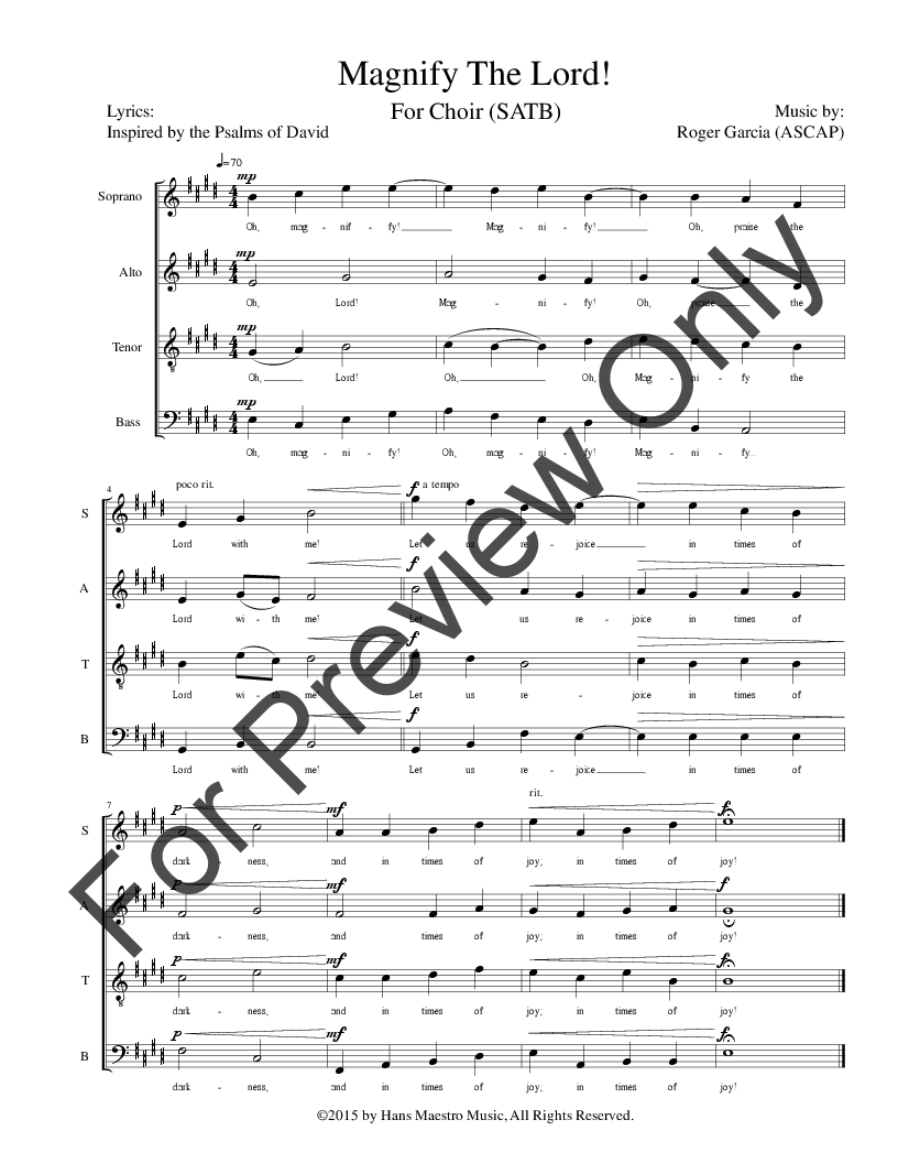 Magnify The Lord (SATB ) by Roger Garcia| J.W. Pepper