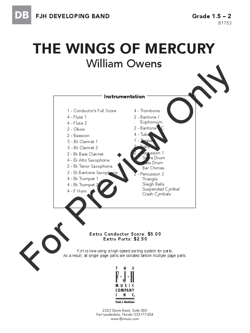 The Wings of Mercury by William Owens| J.W. Pepper Sheet Music