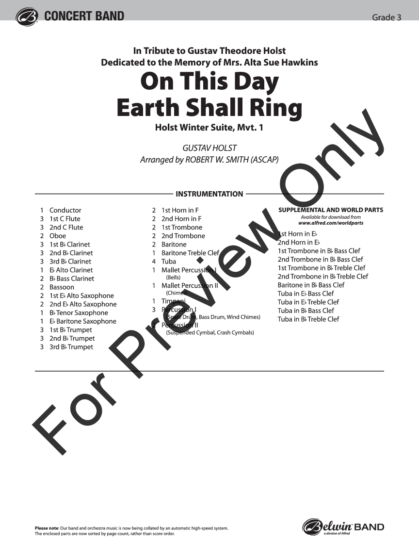 On This Day Earth Shall Ring arr. Robert W. Smith| J.W