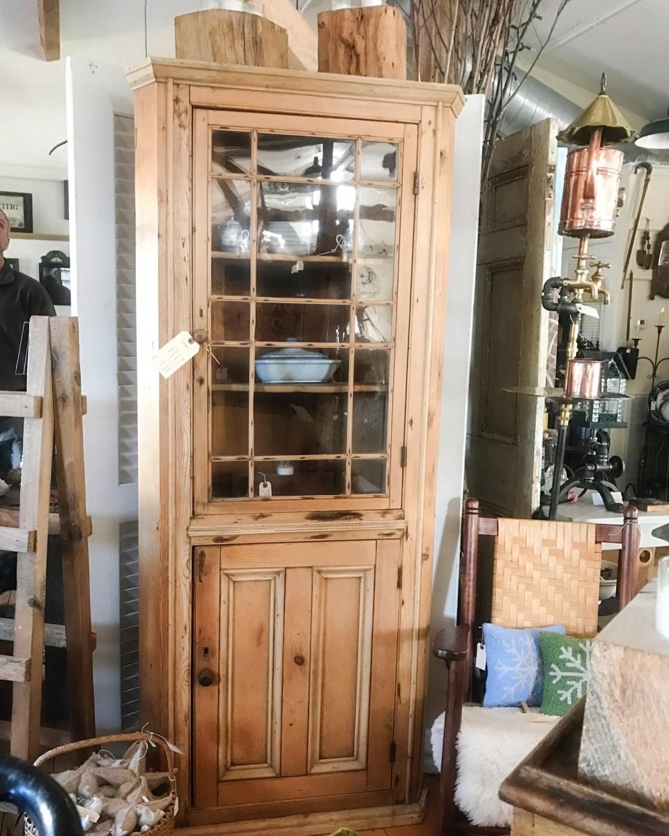 Pine China Cabinet Hutch: Antique English Pine Corner China Cabinet
