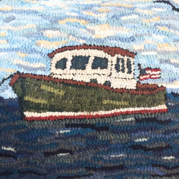 Hand Hooked Maine Lobster Boat Coastal Style Rug hooking