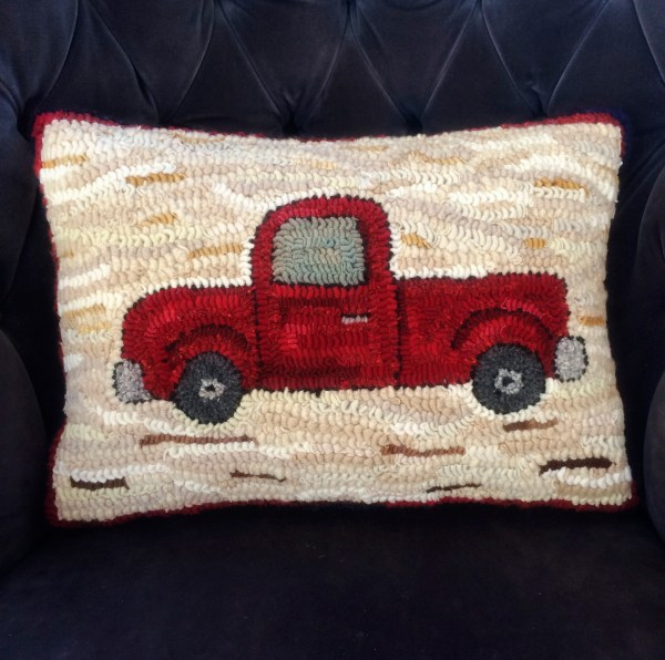 Old Truck Hooked Pillow
