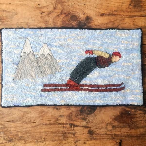 Vintage Ski Jumper Hooked Rug