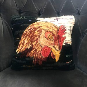 Portrait of Chicken Hooked Pillow