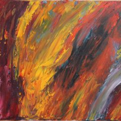 Horse in the fire facing a magician in an abstract painting