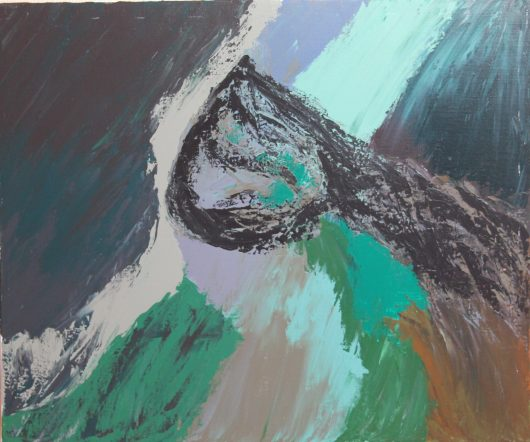 Dinausaur in an abstract painting