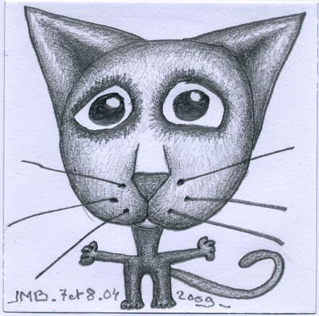 chat-dessin crayon-9x9cm