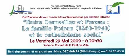 invitation à la conférence de christian bidard sur Potron à Beaumont sur Oise