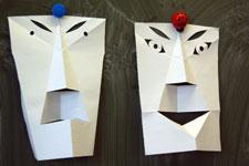 têtes découpées aux ciseaux dans la classe de Joëlle