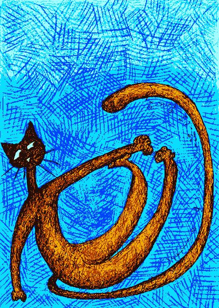 chat orange et bleu 2009-06-22