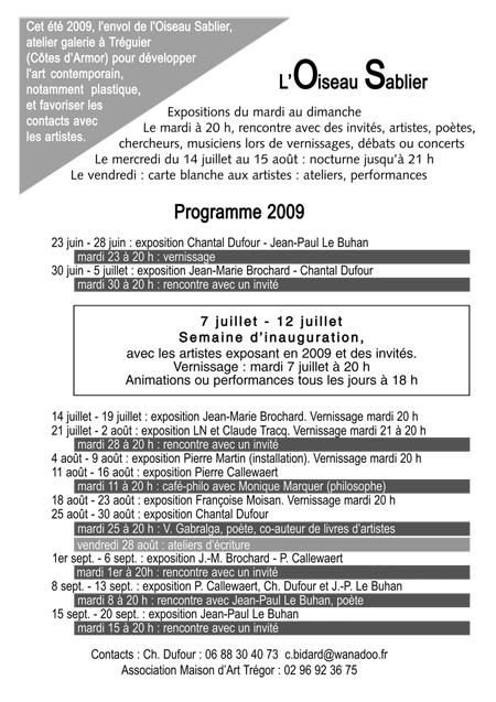 L'OISEAU SABLIER à Tréguier : programme 2009