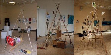 """installation de j'yaimeb à l'expo de l'Art Chauve à Bessancourt : """"rien sur le caillou"""""""