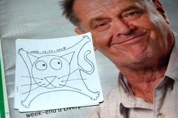 l'un de mes chat pose avec Jack Nicholson