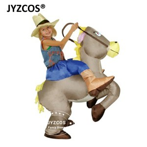 jyzcos kids cow boy rider horse grey horse inflatable costume halloween costume