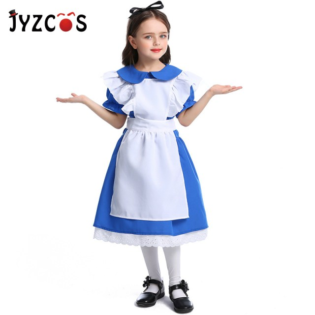 faa2ec62c2ba JYZCOS Fairy Tale Alice in Wonderland Costume Maid Cosplay Costume  Halloween Costumes for Girls Kids Children Party Fancy Dress