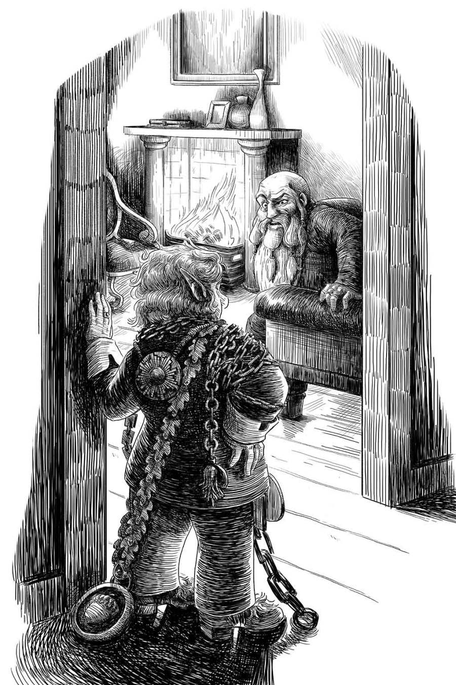 An illustration of Fenrir Goldson looking at Bolbi Baggs draped in chains and medallions