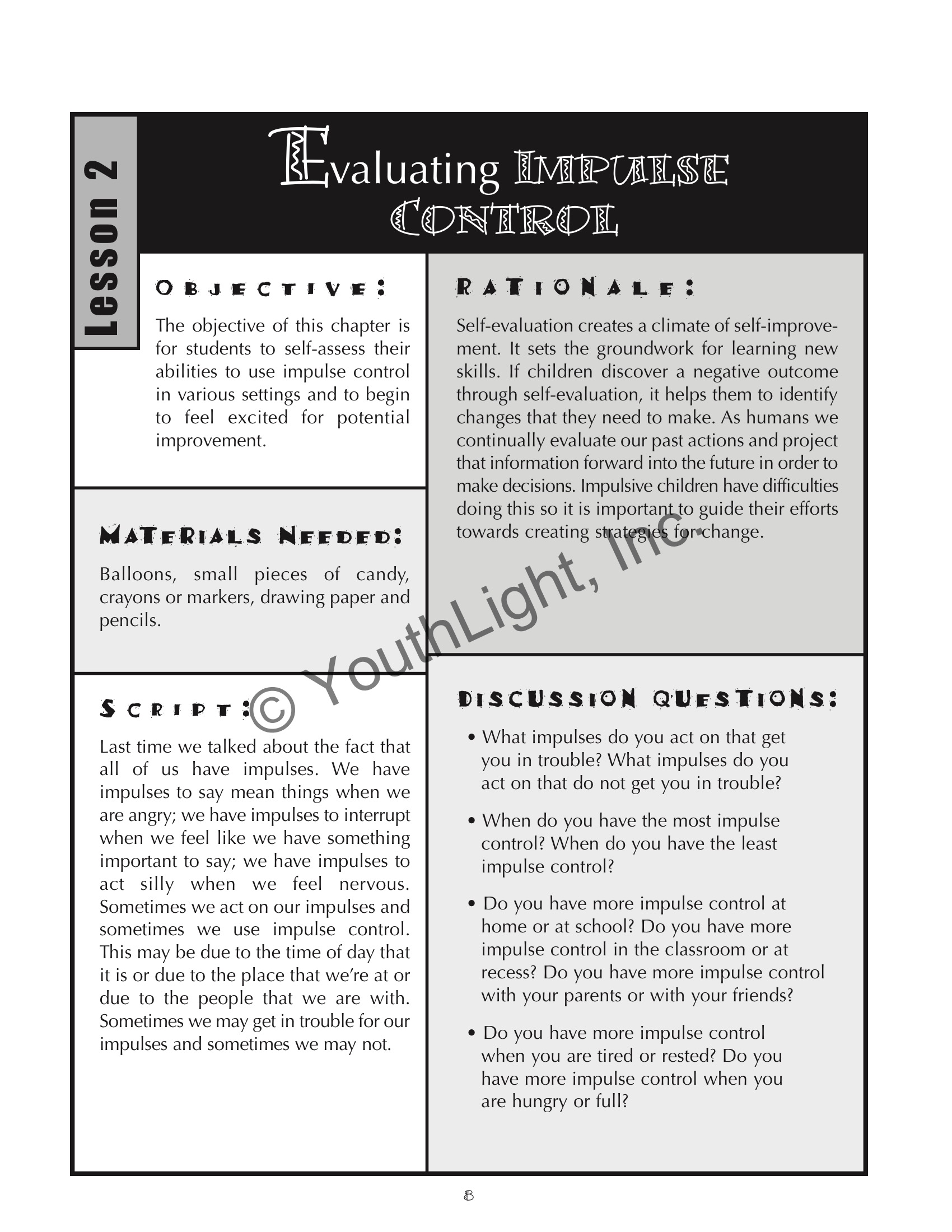Impulse Control Activities Worksheet