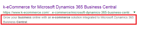 E-commerce SEO terms - Meta description
