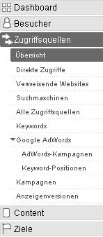 Google Analyze - menu Zugriffsquellen