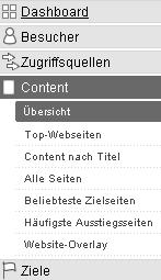 Google Analyze - menu content