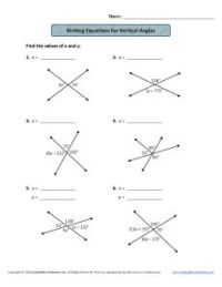 Vertical Angles Worksheet
