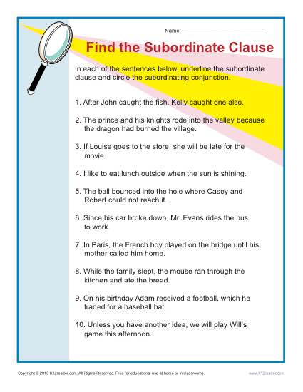 Find the Subordinate Clause