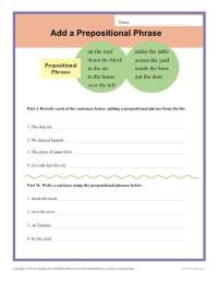 Add a Prepositional Phrase | Sentence Structure Worksheets