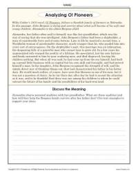 Analyzing O! Pioneers | 8th Grade Reading Comprehension ...