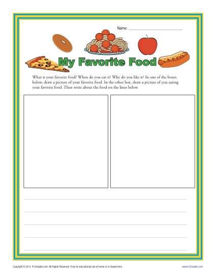 My Favorite Food  Kindergarten Writing Prompt Worksheet