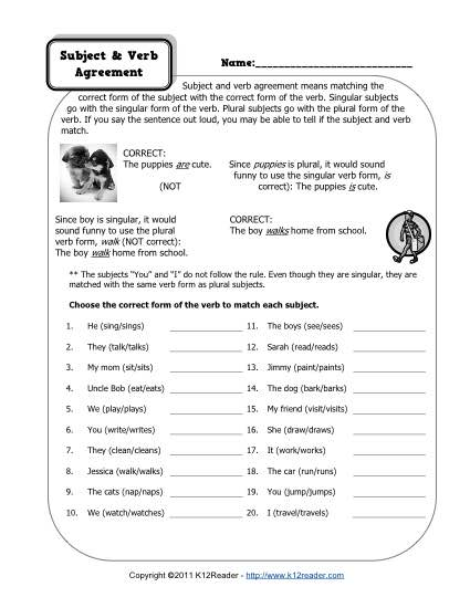 Subject And Verb Agreement Worksheets