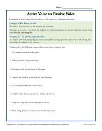 Active Voice to Passive Voice | Subject Predicate Worksheets