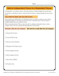 Add an Independent Clause to a Dependent Clause | Grammar ...