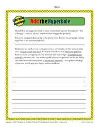 Add the Hyerbole | Figurative Language Worksheets