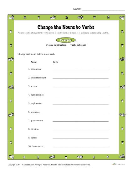 Change The Nouns To Verbs Printable 3rd