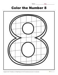 Color the Number 8 | Preschool Number Worksheet