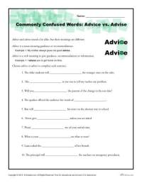 Advice vs. Advise Worksheet | Commonly Confused Words