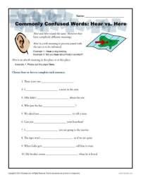Hear vs. Here Worksheet | Easily Confused Words