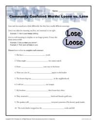 Loose vs. Lose Worksheet | Easily Confused Words
