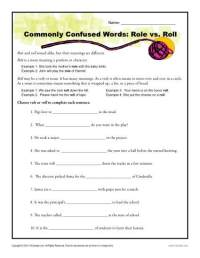 Role vs. Roll Worksheet | Commonly Confused Words