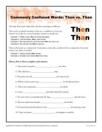 Then vs. Than Worksheet | Easily Confused Words