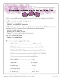Too vs. To vs. Two Worksheet | Easily Confused Words