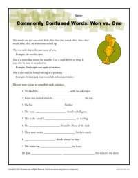 Won vs. One Worksheet | Easily Confused Words