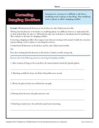 Correcting Dangling Modifiers | Word Usage Worksheet