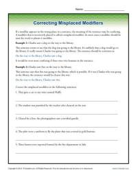 Correcting Misplaced Modifiers | Word Usage Worksheet
