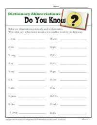 Dictionary Skills Worksheets | Abbreviations