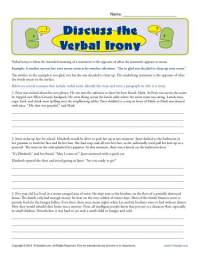 Discuss the Verbal Irony | Figurative Language Worksheets